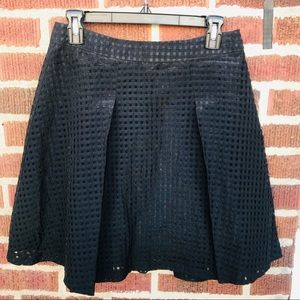 1. State Pleated Laser Cut Checkered Mesh Skirt